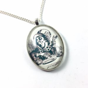 Mad Hatter Glass Dome Necklace - Alice in Wonderland