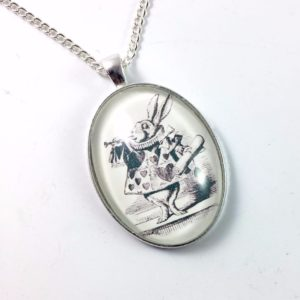 White Rabbit Glass Dome Necklace - Alice in Wonderland